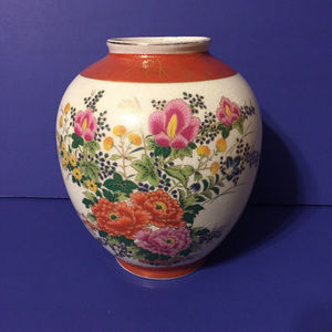 Other - Vtg Satsuma Japanese Floral Crackle Vase